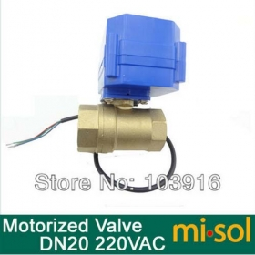 MISOL 1pcs motorized ball Ventil valve,220v,2 way,DN20 (reduce port),electrical valve, motorized valve