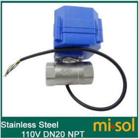 MISOL 10 UNITS OF 110V motorized ball valve, DN20 (reduce port) (NPT), stainless steel, 2 way, electrical valve