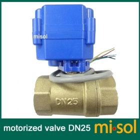 "MISOL motorized valve brass, G1"" DN25, 2 way, CR05, electrical valve, motorized ball valve"