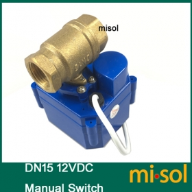 MISOL 10 units of motorized ball valve DN15, 12VDC, 2 way, brass, with manual switch, with valve position indicator