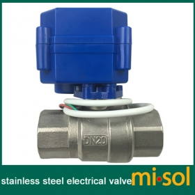 "MISOL 10 pcs motorized ball valve 3/4"" NPT, DN20, 2 way 12VDC CR04, stainless steel electrical valve"